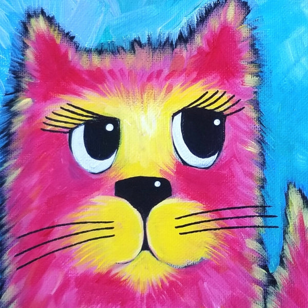 Kitty with Stripes Original Acrylic Painting Canvas 6x6x2
