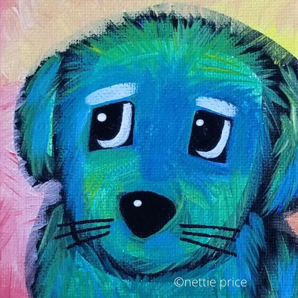 Fluffy Blue Dog Original Acrylic Painting 5x5x2 Canvas