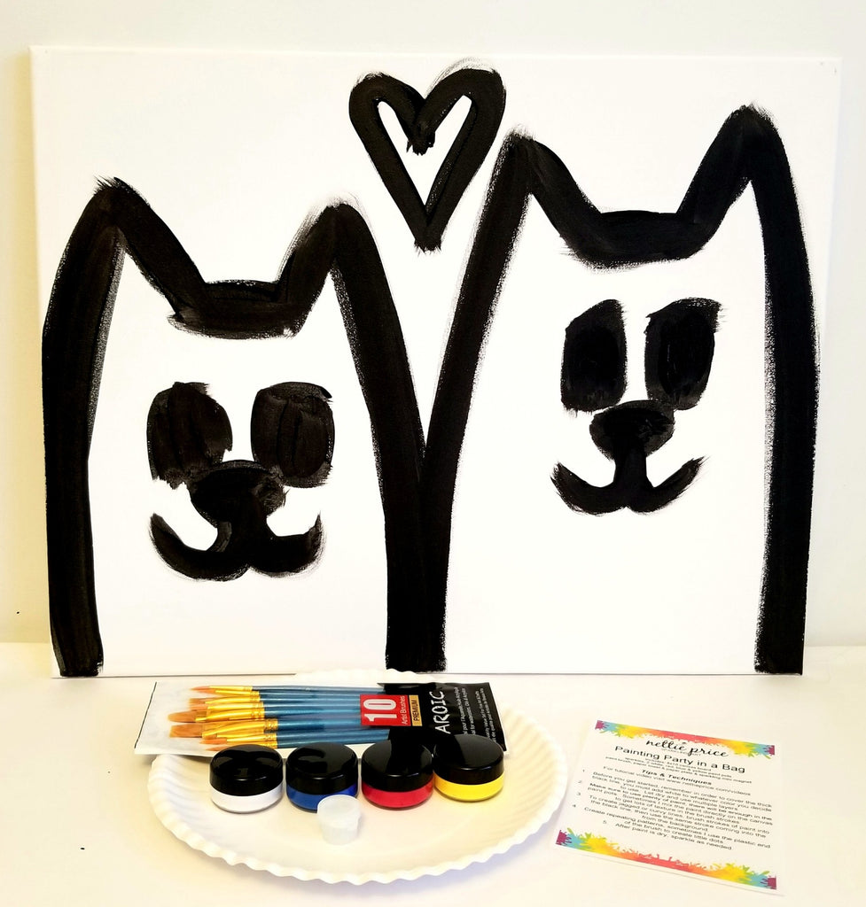 Sparkling Art Painting Party in a Box Two Cats 16x20 Canvas Kitty