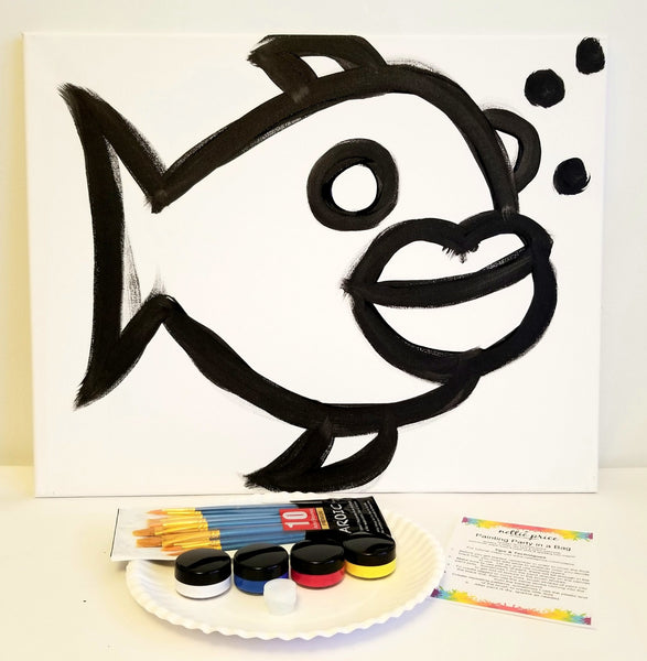 Sparkling Art Painting Party in a Box Fish 16x20 Canvas