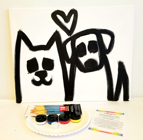 Sparkling Art Painting Party in a Box Cat & Dog 16x20 Canvas