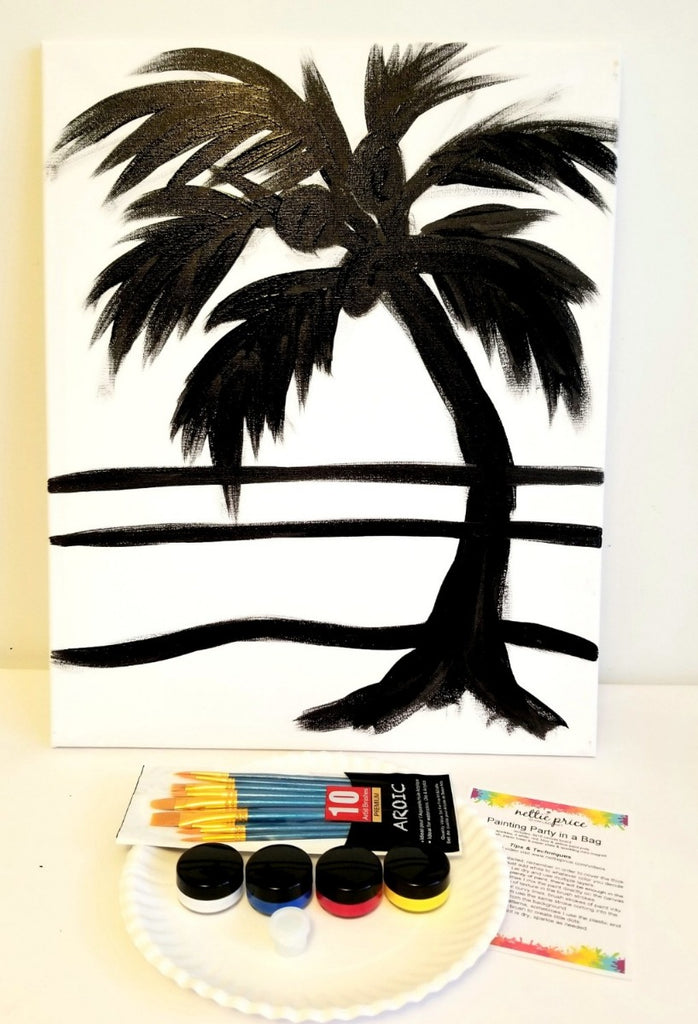 Sparkling Art Painting Party in a Box Palm Tree on the Beach 16x20 Canvas