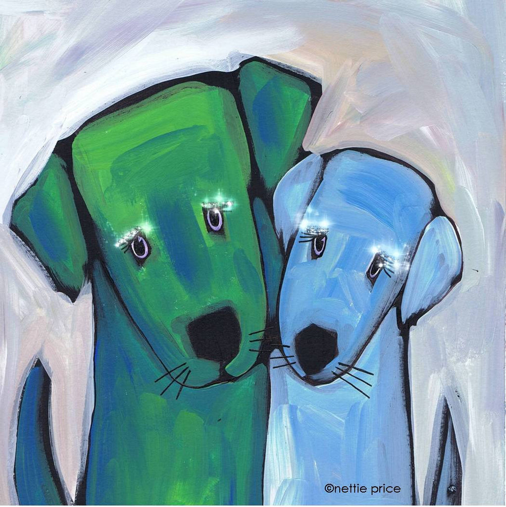 2 Dog Love Sparkling Art Print