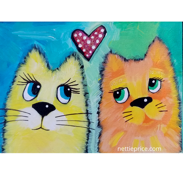 Two Cat Friends original Acrylic Painting on Canvas 5x7 SOLD