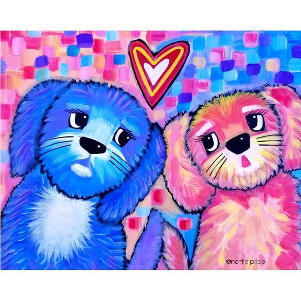 Two Puppy Love Original Acrylic Dog Painting on Canvas 11x14