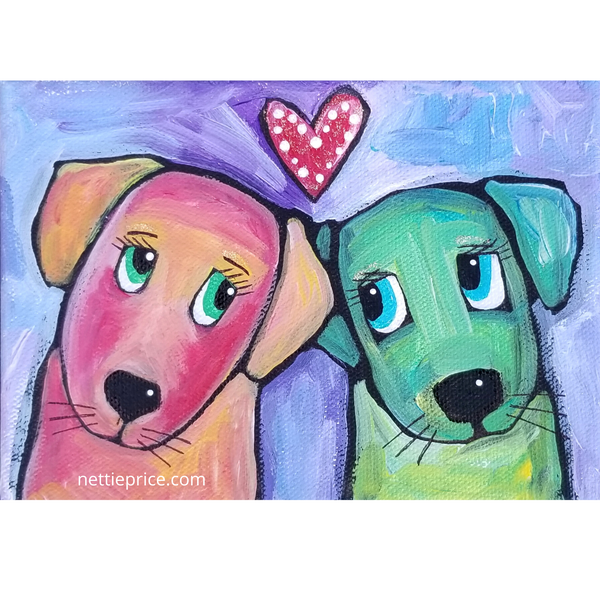 Two Dog Friends original Acrylic Painting on Canvas 5x7 SOLD