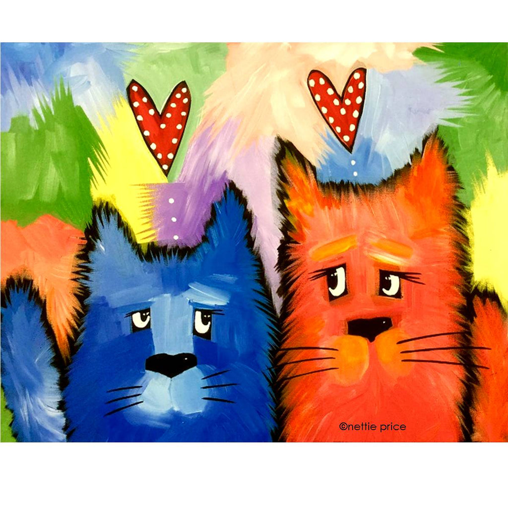 2 Kitty Furry Friends Sparkling Art Print