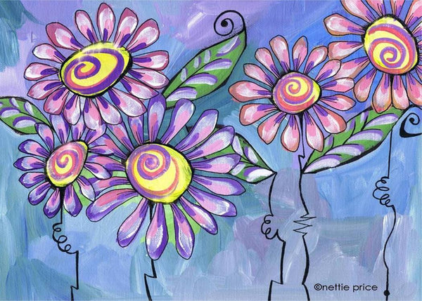 5 Pink Daisies Sparkling Art Print