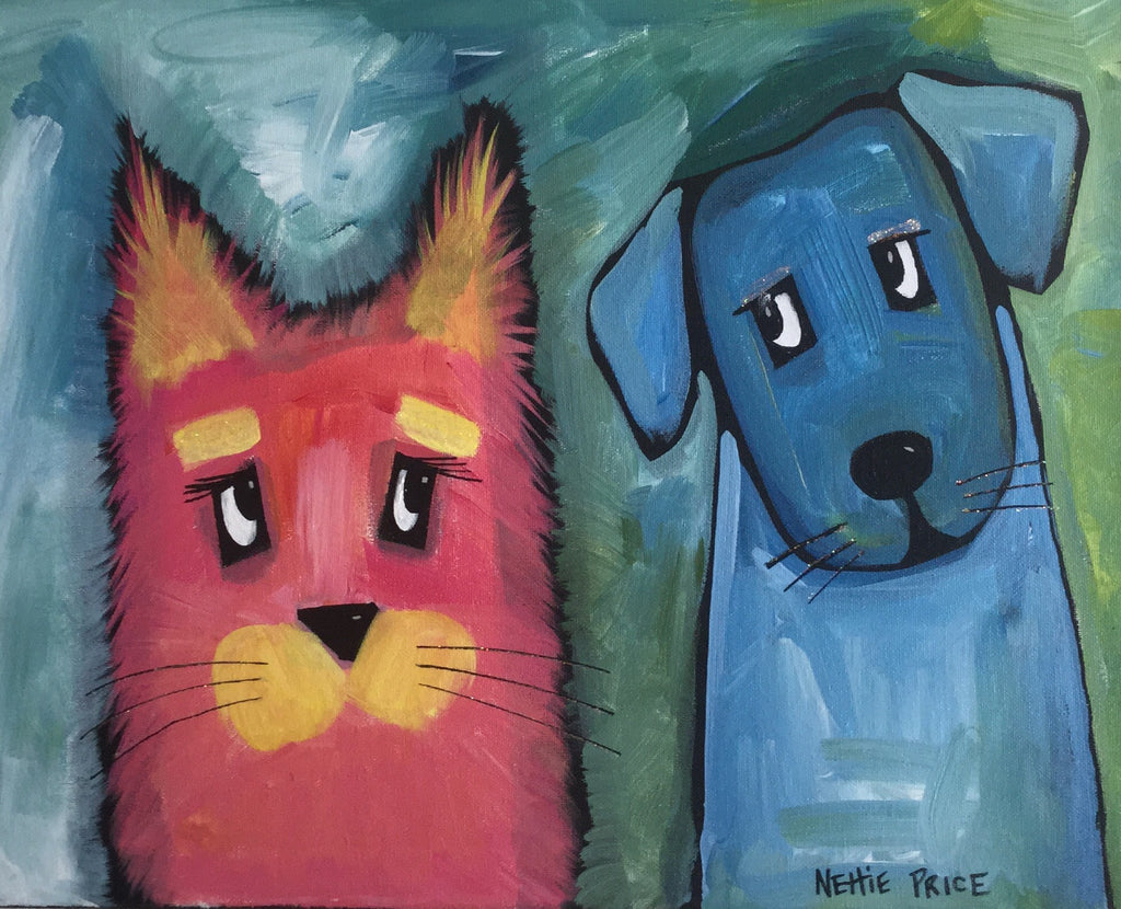 Original Painting on Canvas Cat and Dog