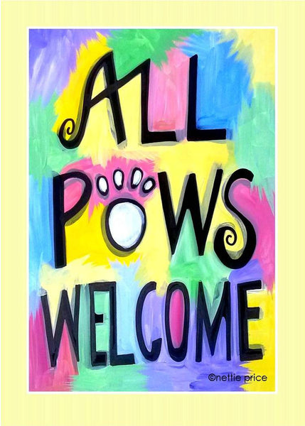 All Paws Welcome Sparkling Art Print