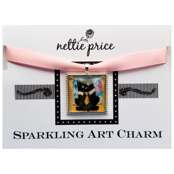 Black Cat Neck Tie Sparkling Art Charm Silver Pendant for Necklace or Bracelet
