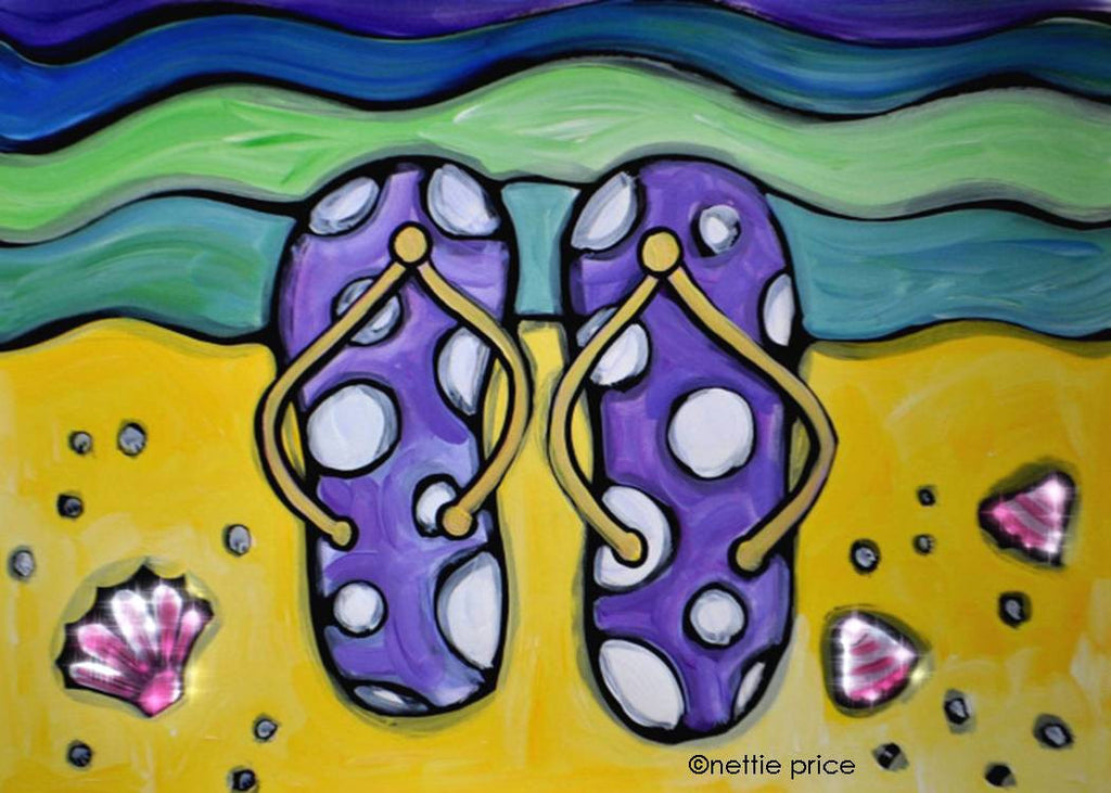 Flip Flops on the Beach Sparkling Art Print