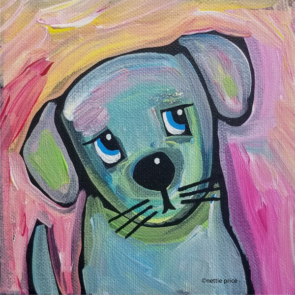 Blue Dog original Acrylic on Mini Canvas 5x5x1