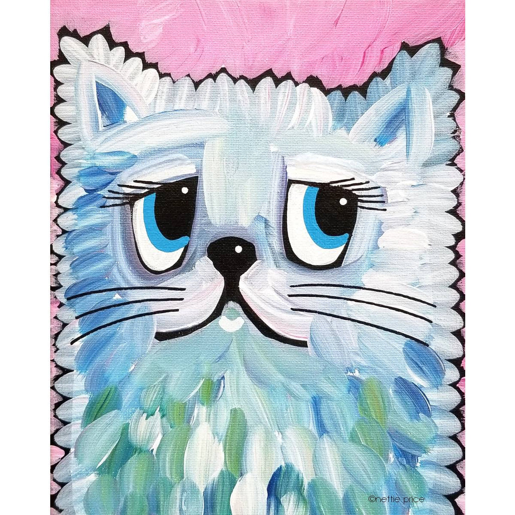 Blue White Cat Sparkling Art Print