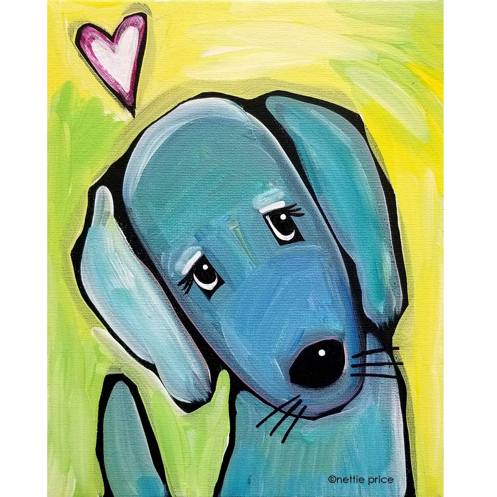 Blue Dog Love Sparkling Art Print 409