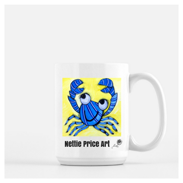 Blue Crab Mug Deluxe 15oz White Shipping Included