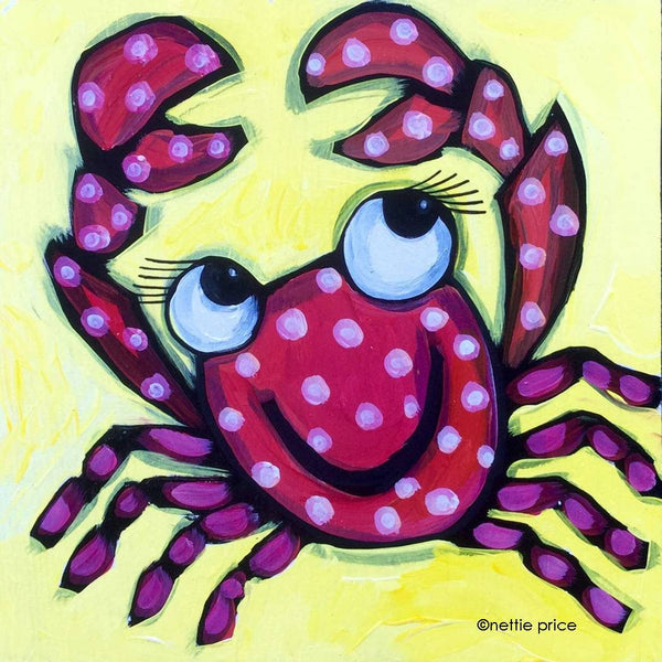 Happy Red Crab Sparkling Art Print