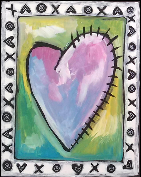 XO Jagged Heart Sparkling Art Print