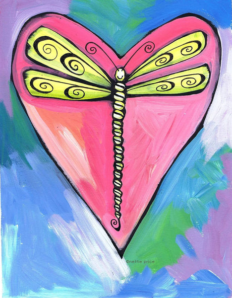 Dragonfly Heart Sparkling Art Print