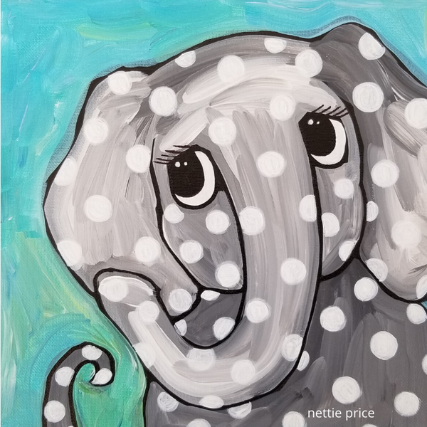 Spot the Elephant Original Acrylic Painting by Nettie Price