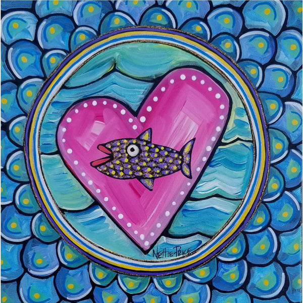 Fish Round Original Acrylic Painting on Canvas 12x12