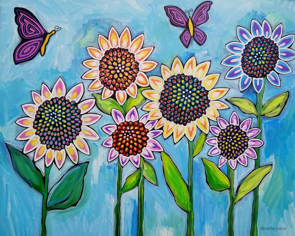 Sunflowers Butterflies Sparkling Art Print