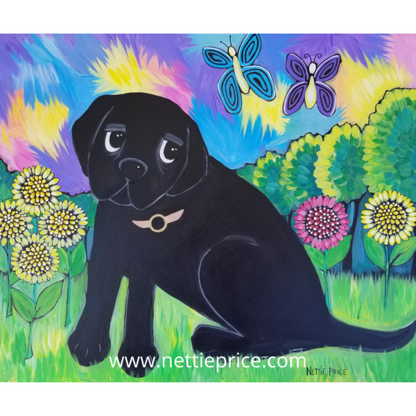 Gus Black Lab Sunflowers Butterflies Sparkling Art Print