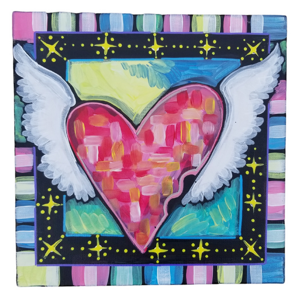 Hope Heart Sparkling Original Acrylic Painting Canvas 12x12