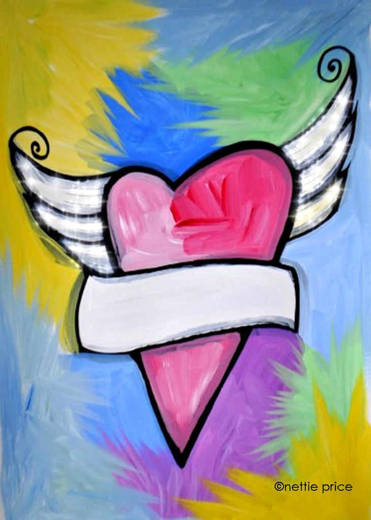 Heart with Wings Sparkling Art Print