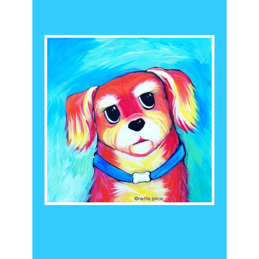 Heidi Little Red Orange Dog Sparkling Art Print