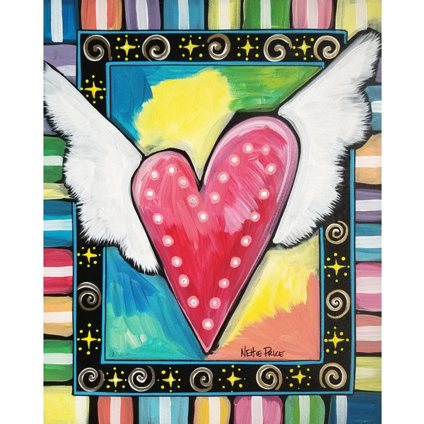 Hope Heart with Wings Original Acrylic Painting on Canvas