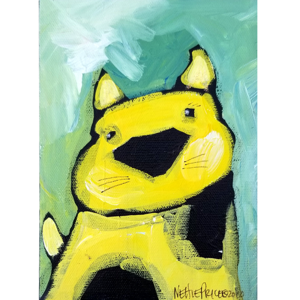 Yellow Dog Sparkling Original Acrylic Painting Canvas 5x7
