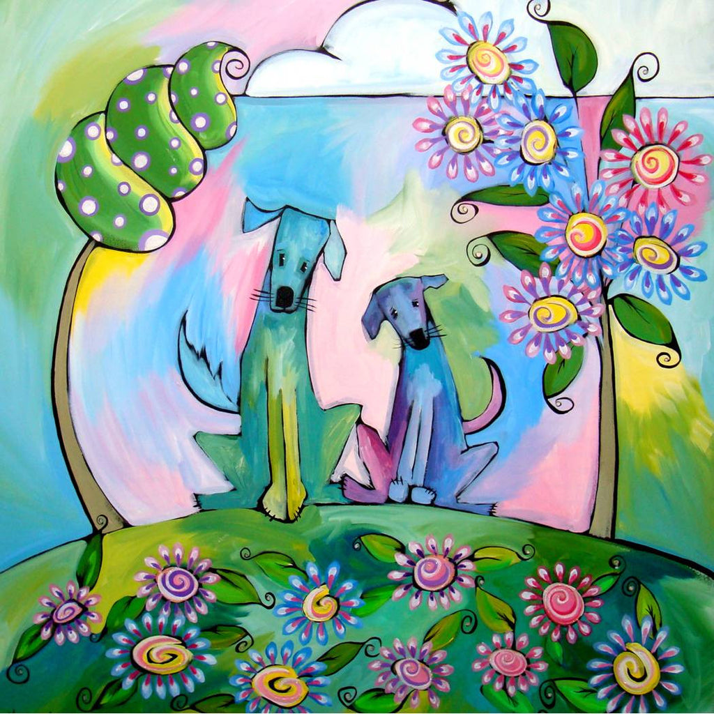 Two Blue Dogs Jenny & Benny Sparkling Art Print