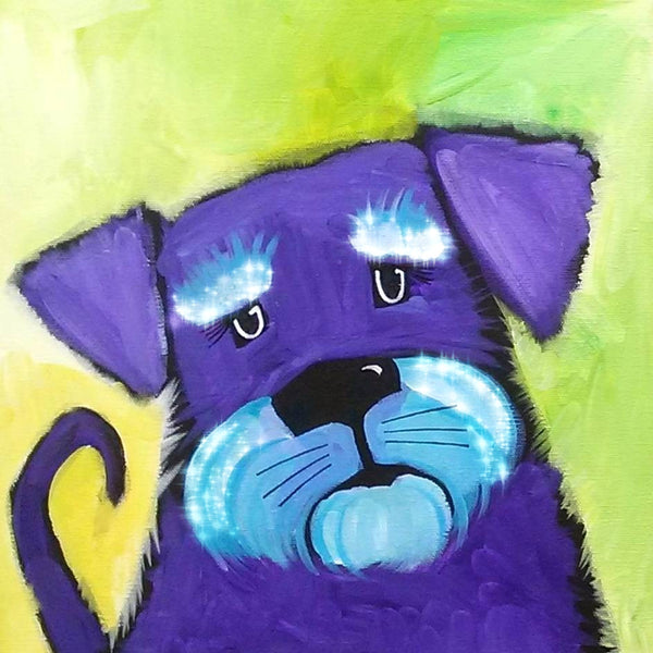 Purple Terrier Dog Sparkling Art Print