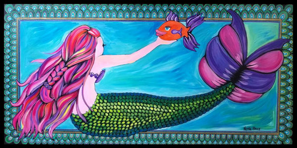 Mermaid & Pet Fish Original Painting Framed