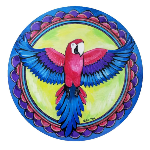 Milton Macaw Tropical Bird Original Painting on Wooden Round 23 inches