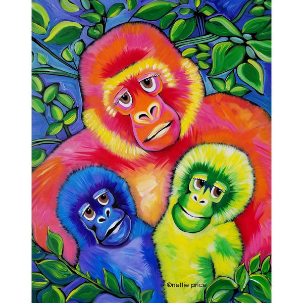 Mountain Gorillas Mommy & Babies Sparkling Original Acrylic Painting Canvas 24x30