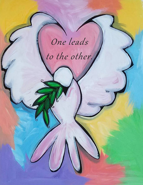Dove Olive Branch Peace Love One Leads to the Other Sparkling Art Print