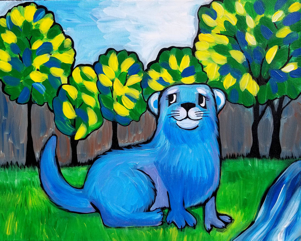 Happy River Otter Original Acrylic Painting by Nettie Price