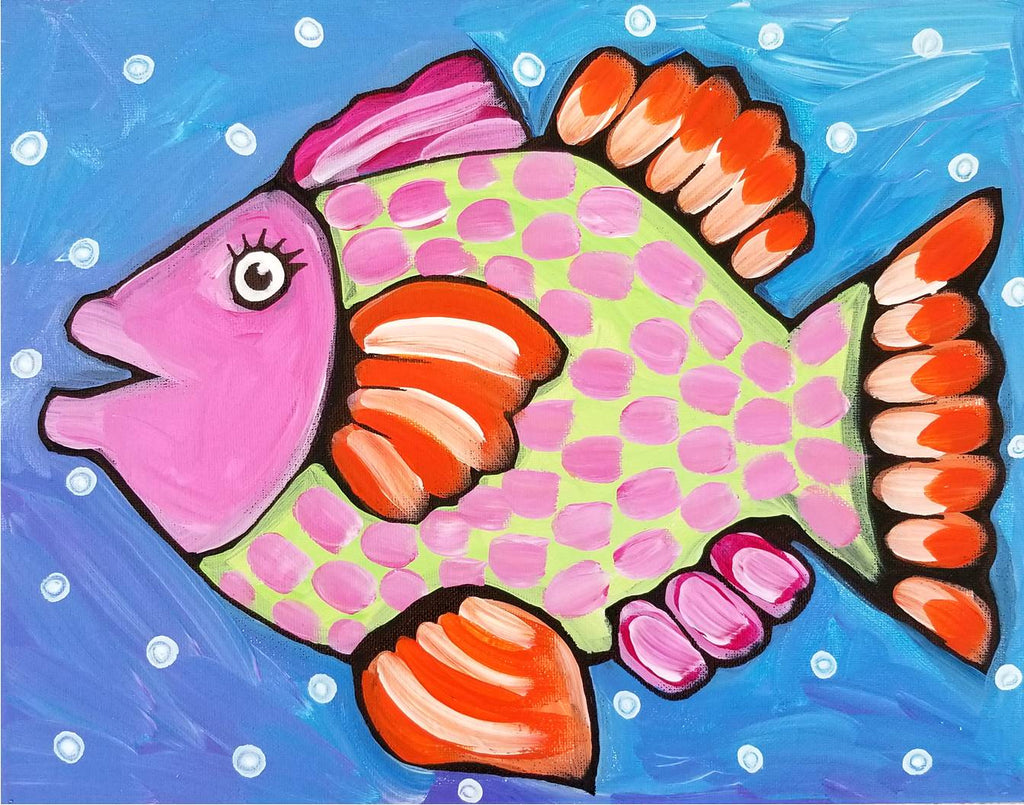 Palm Coast Fish 2 Original Acrylic Painting by Nettie Price