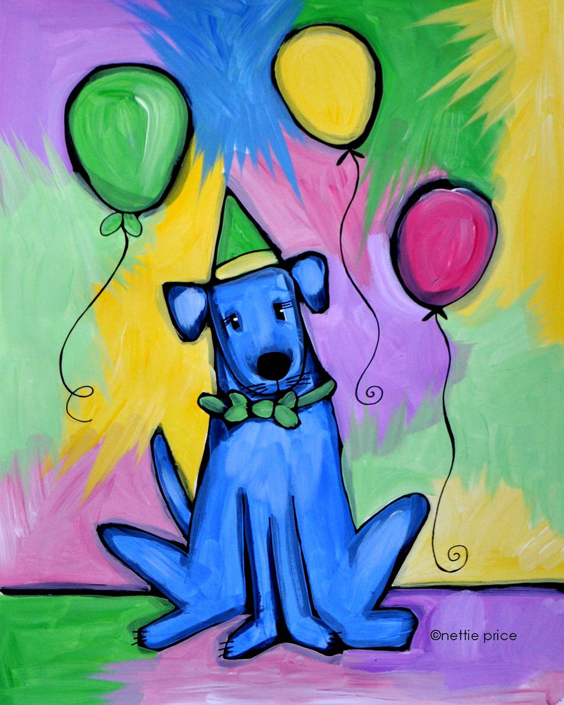 Party Dog & Balloons Sparkling Art Print