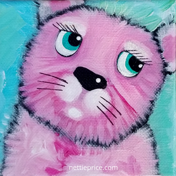Pink Dog Sparkling Mini Original Acrylic Painting Canvas 4x4x2