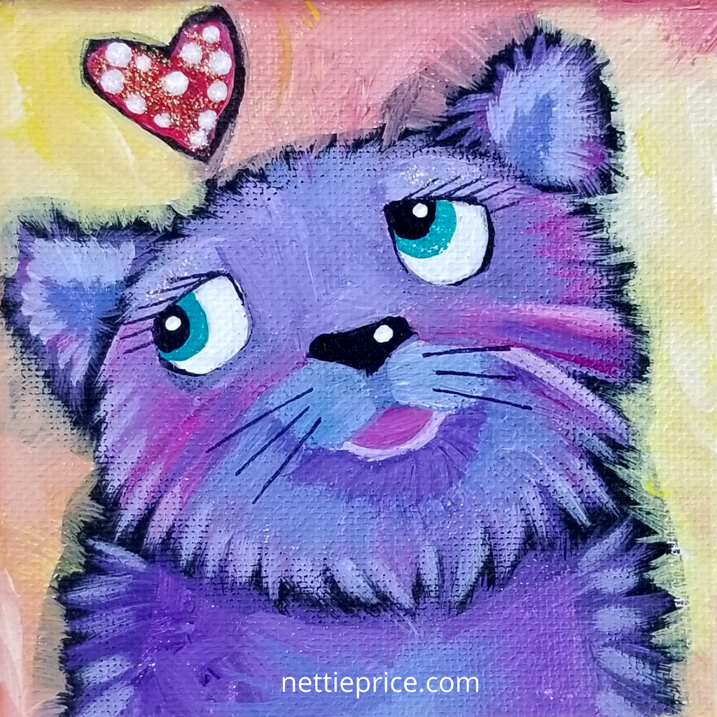 Purple Dog Sparkling Mini Original Acrylic Painting Canvas 4x4x2