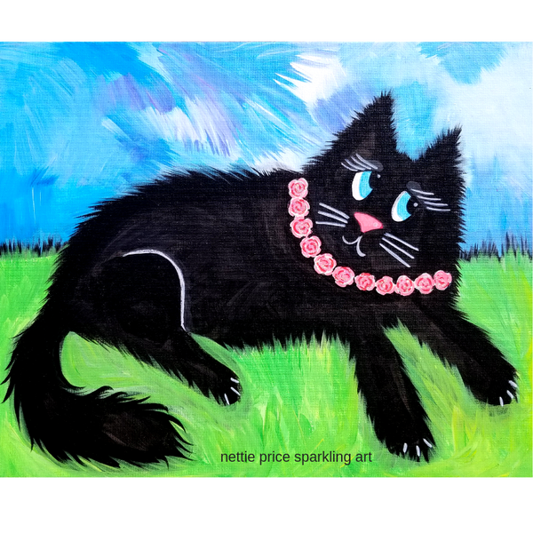 Rosie Black Cat Sparkling Art Print