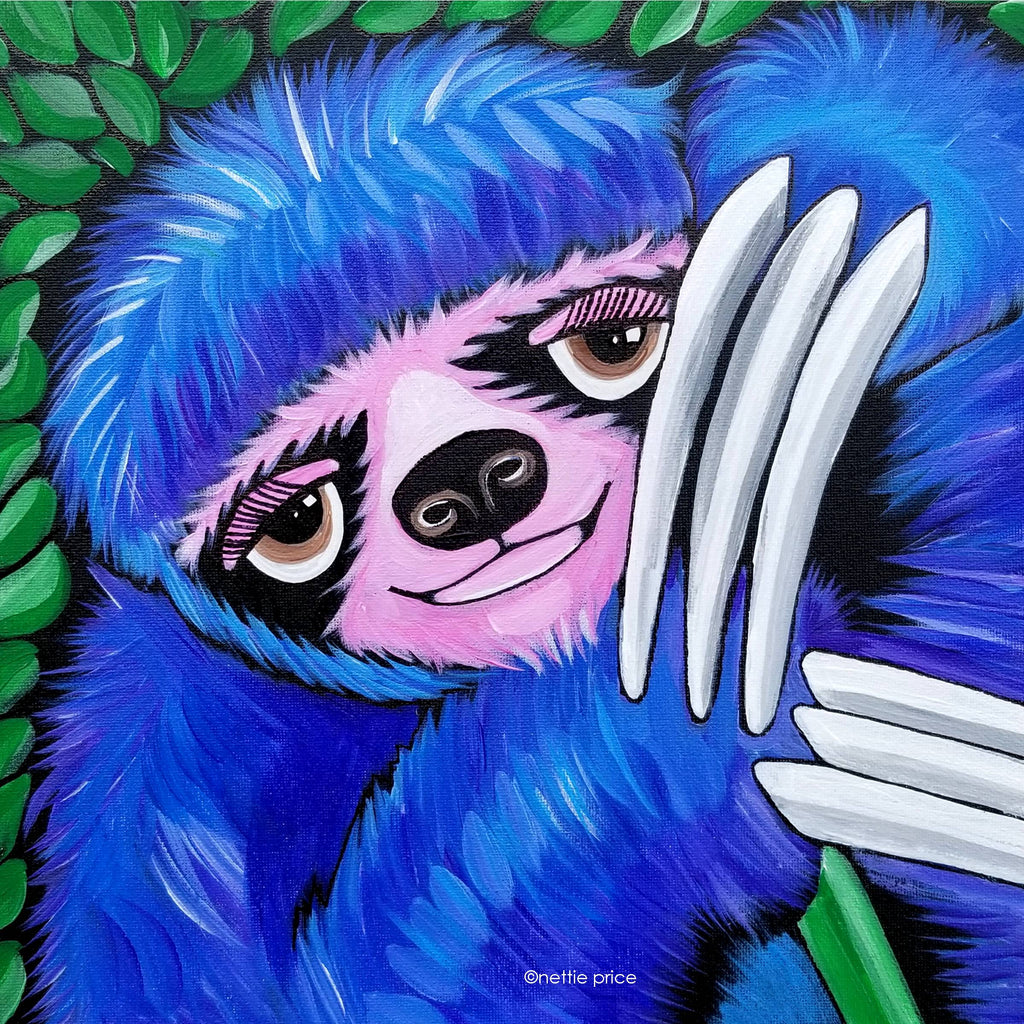 Sloth in the Tree Sparkling Art Print