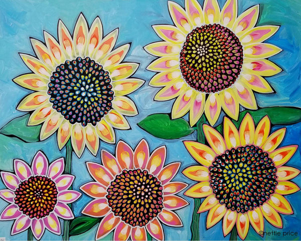 Sunflower Original Acrylic Sparkling Painting 5 Sunflowers