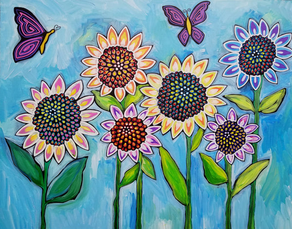 Sunflower Butterflies Original Acrylic Sparkling Painting Sunflowers