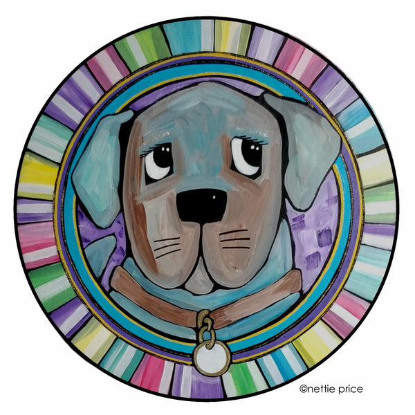 Sweet Face Blue Dog Original Painting on Wooden Round 18 inches SOLD