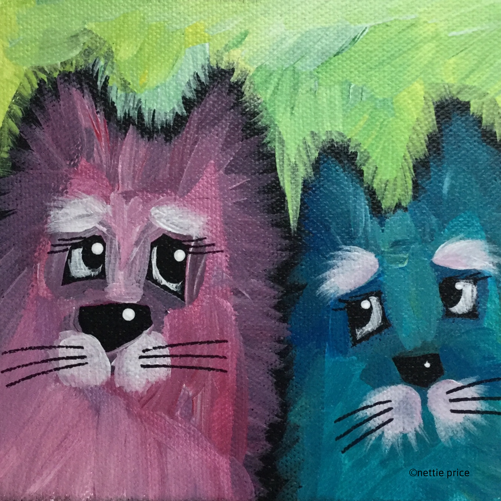 Two Cat Friends original Acrylic on Mini Canvas