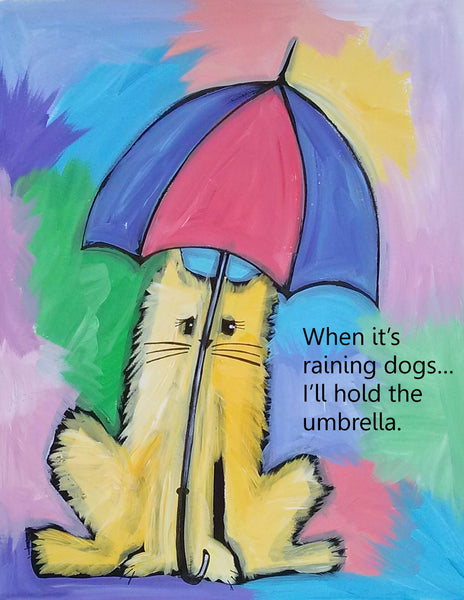 Umbrella Cat Sparkling Art Print